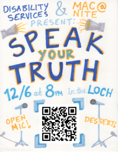 """Speak Your Truth"" event poster"