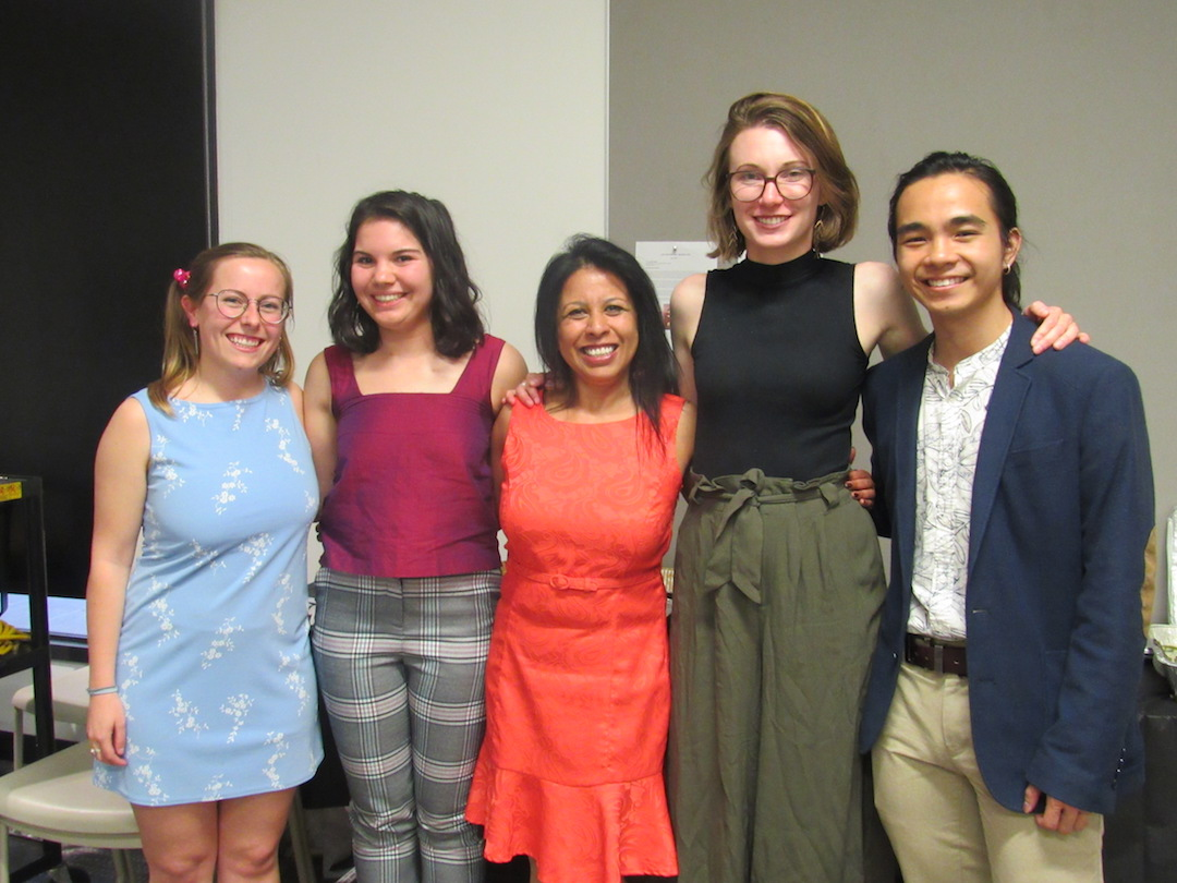 Four students and Professor Sonita Sarker